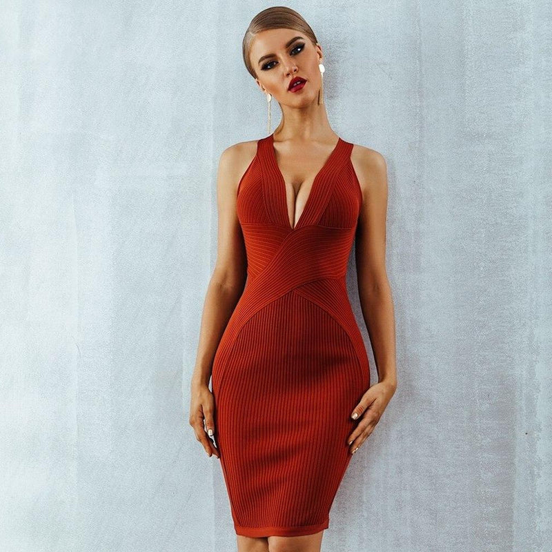 Halter V-Neck Bandage Bodycon Runway Dress.