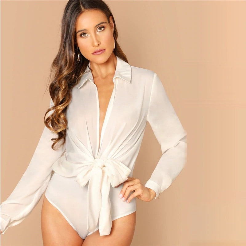 Long Sleeve Plunge Neck Knot Front Mid Waist Blouse Bodysuit.