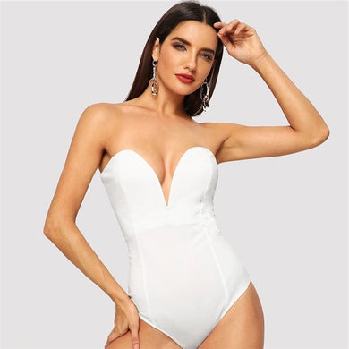 Deep V-Neck Bustier Strapless Bodysuit.