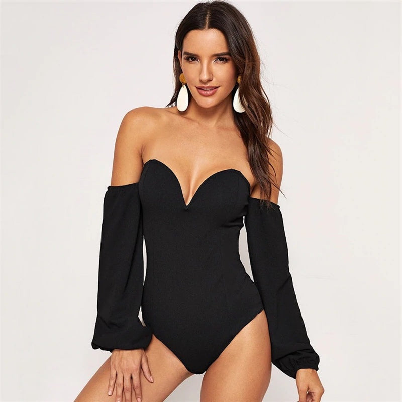 Deep Plunging V-Neck Bishop Long Sleeve Bodysuit.