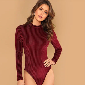 Long Sleeve Mid Waist Mock-Neck Stand Collar Bodysuit.