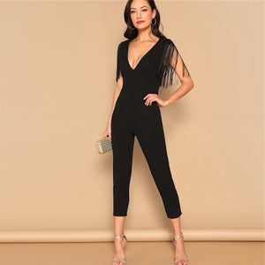 Plunging Neck Fringe Fitted Skinny Jumpsuit.
