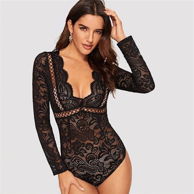 High Waist Deep Plunging V-Neck Cutout Knot Back Lace Bodysuit.