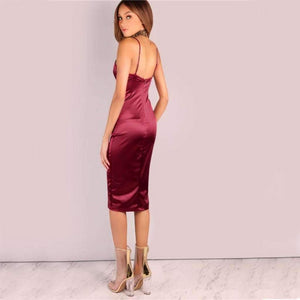 Burgundy Satin V-Neck Bodycon Strap Ruched Dress.