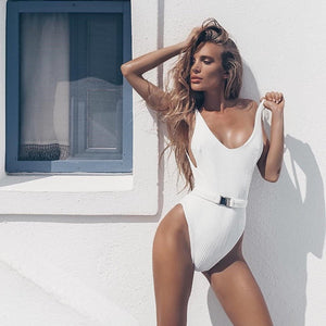 High Cut Buckle Push Up One Piece Swimsuit. (13 Colors Available)