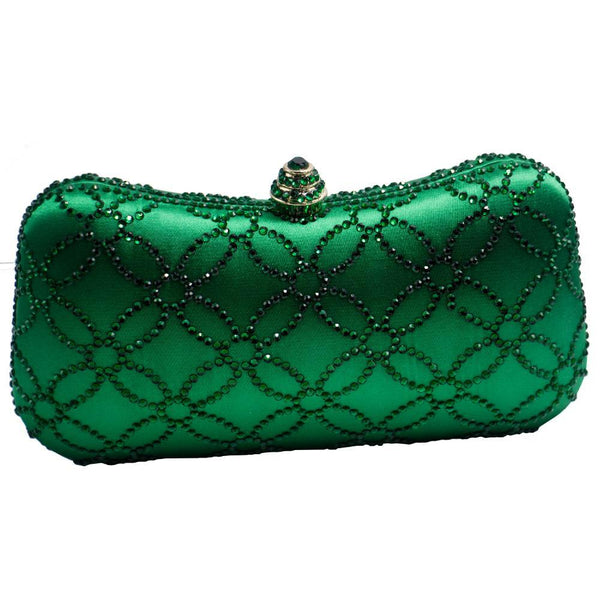 Flower Emerald Rhinestone Crystal Evening Bags