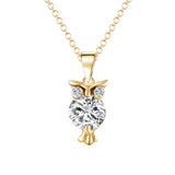 Crystal Zircon Lovely Animal Owl Pendants Necklace