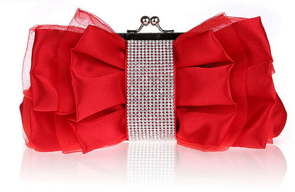 Luxury Bow Shape Rhinestone Women Clutches Bag