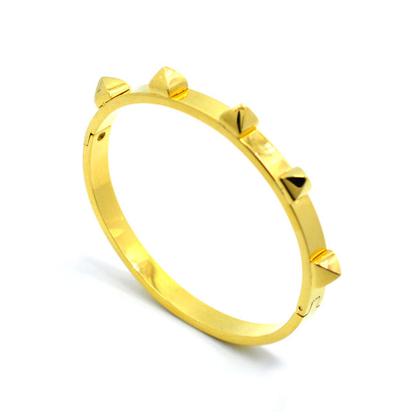 Stainless Steel Rivet Bangle for Women