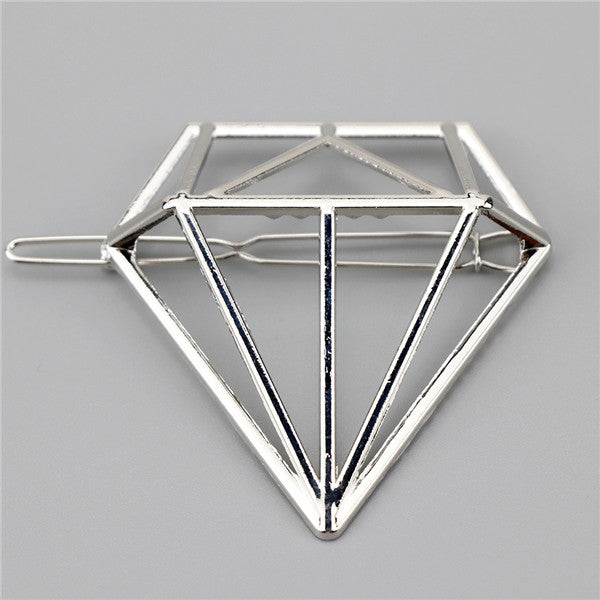 Metal Triangle Circle Moon Hair Clips
