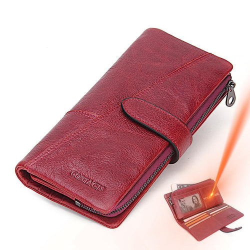 Women Luxury Genuine Leather Long Wallet