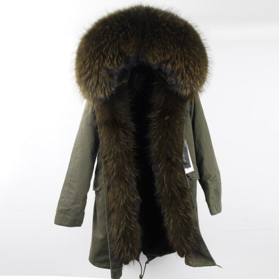 Big raccoon fur collar hooded parkas
