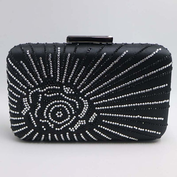 Crystal Satin Silk Box Evening Bags with Flowers