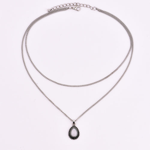 New vintage silver color drop stone pendant necklace