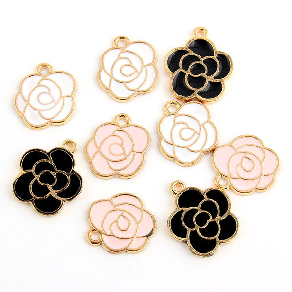 Enamel Rose Charm Pendants