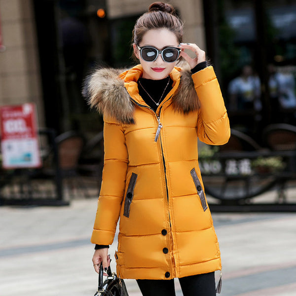 2018 fur collar women winter hooded coat