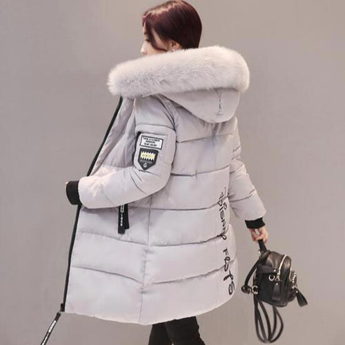 Thick Fur Hooded Long Down Cotton Padded Parka