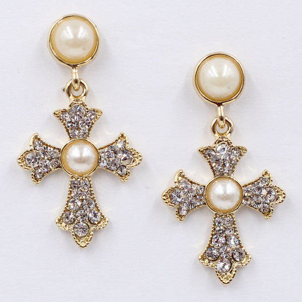 Crystal Cross Drop Earrings for Women