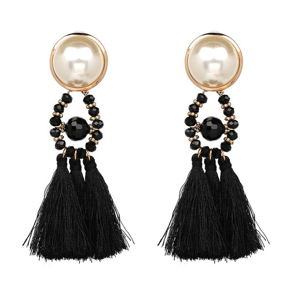 Long Dangle Fringe Earrings