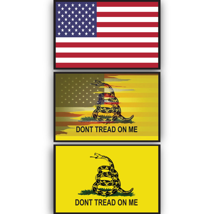 3 Pack of Gadsden/American Stickers
