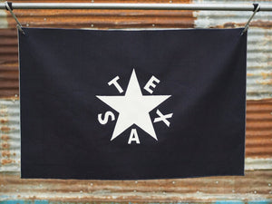 Navasota Co - Zavala flag, an applique five pointed star with the letters of Texas between the points