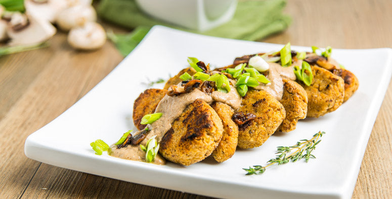 Vegan Gluten-Free Chickpea Nuggets with Mushroom Gravy