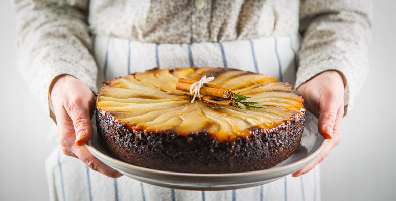 Skillet Upside-Down Pear Gingerbread