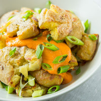 Easy Vegetable Sides: Smashed Potatoes With Roasted Red Pepper Aioli