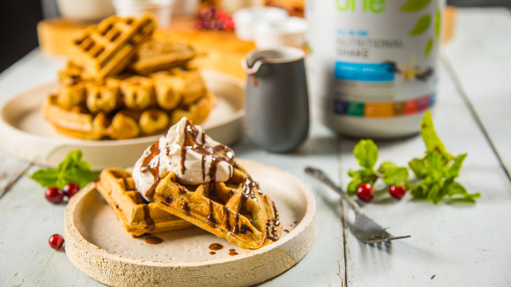Cranberry Waffles with Coconut Mint Whipped Cream