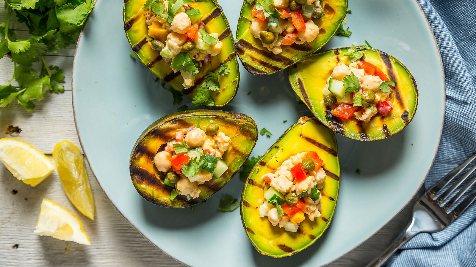 Chickpea Stuffed Grilled Avocado