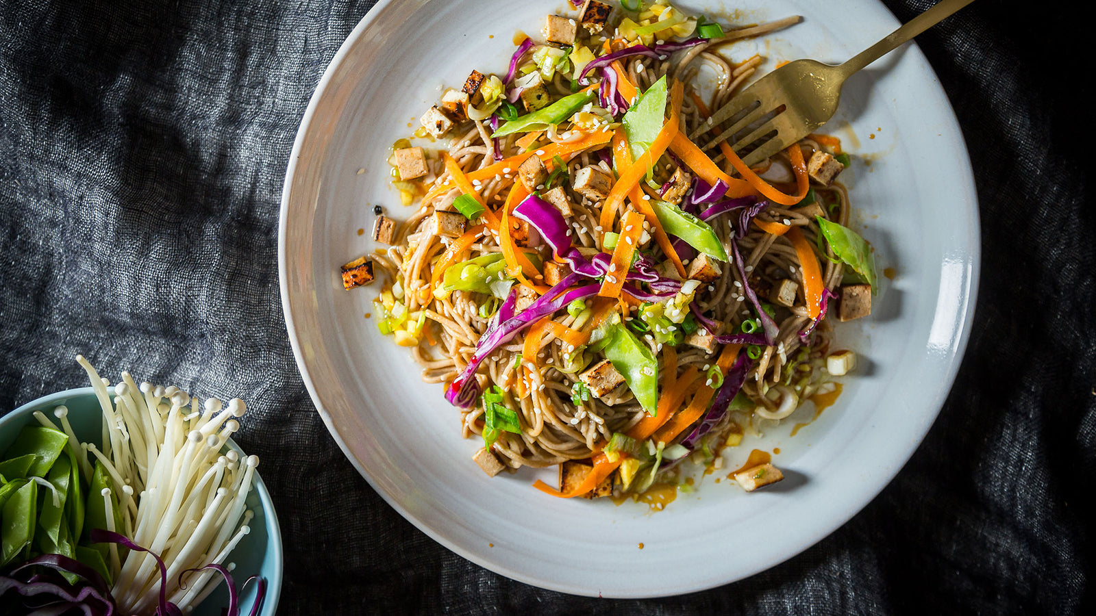 Sesame Soba Salad with Grilled Tofu