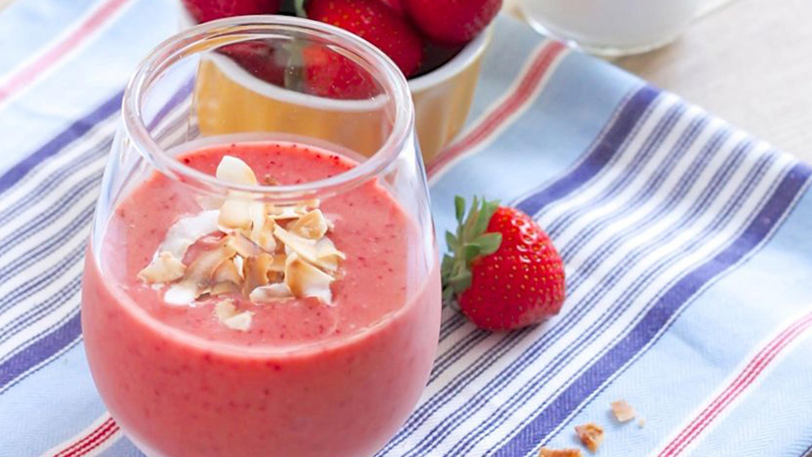 Strawberry Banana Protein Smoothie with Coconut
