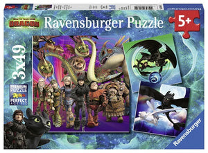 Ravensburger How To Train Your Dragon palapeli: 3 x 49 palaa