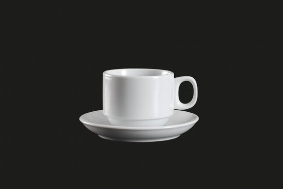 AW0071: Stackable Cup 7.5 oz. White Chinaware Top View
