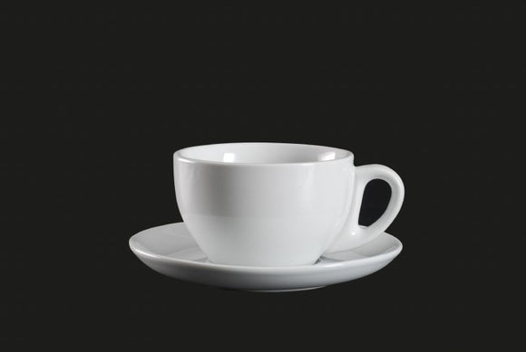 AW0075: Cappuccino Cup 12 oz. White Chinaware Top View