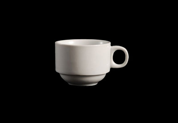 AW0078: Espresso Stackable Cup 3 oz. White Chinaware Top View
