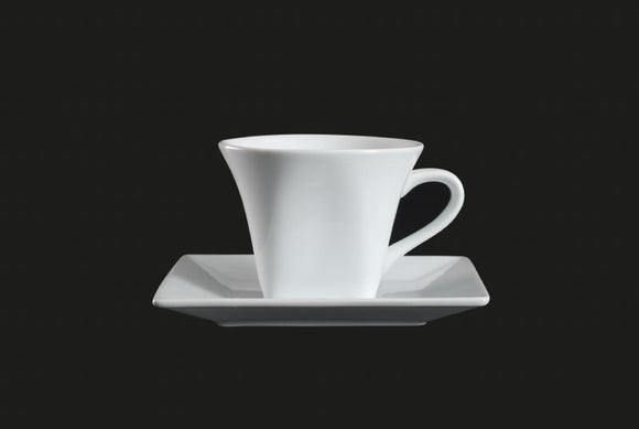 AW0616: Square Cup 7 oz. White Chinaware Top View