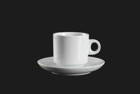 AW0838: Stackable Cup 7.5 oz. White Chinaware Top View