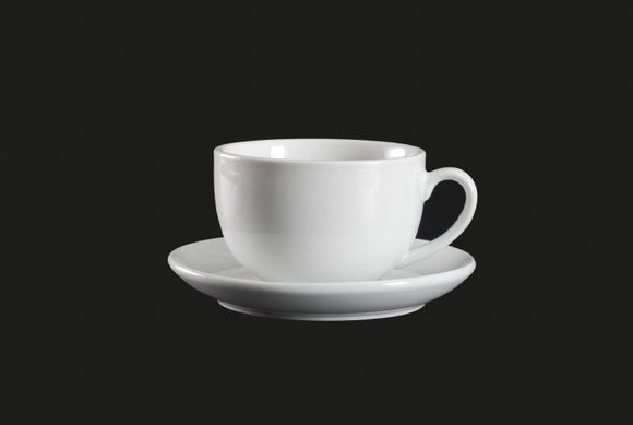 AW0841: Cappuccino Cup 12 oz. White Chinaware Top View