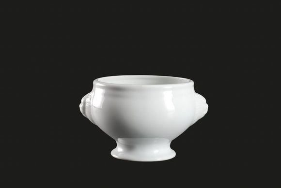 AW1614: Lion Head Bowl 12 oz. White Chinaware Top View