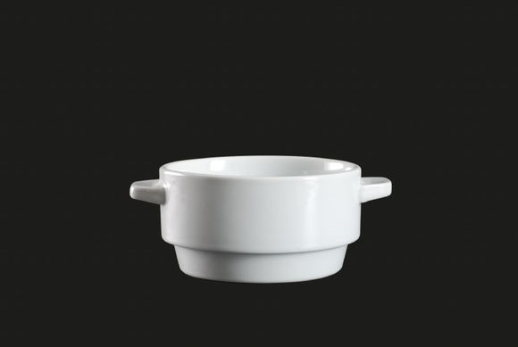 AW1677: Stackable Bowl W / Handle 12 oz. White Chinaware Top View