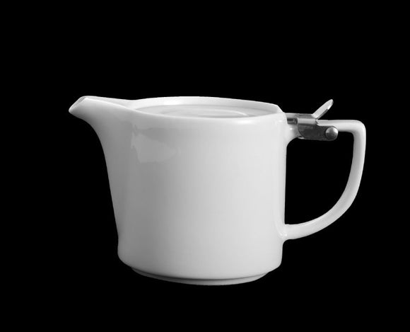 AW8116: Stackable Tea Pot 12 oz. White Chinaware Top View