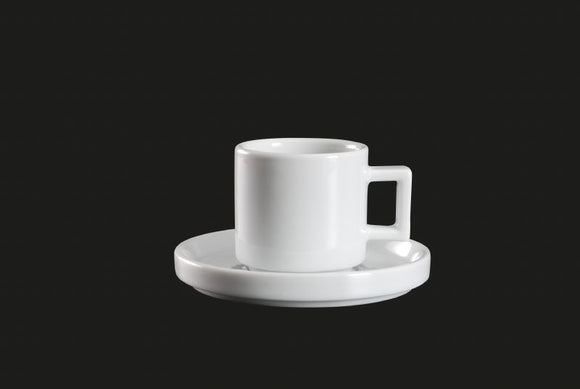 AW8708: Stackable Espresso Cup 3 oz. White Chinaware Top View