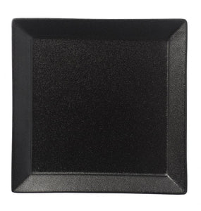 "BK0020: 10.25"" Square Rim Plate Black Chinaware Top View"
