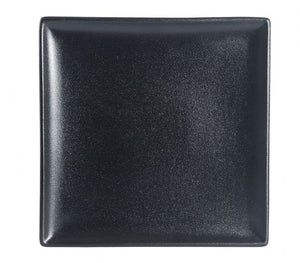 "BK0046: 10.5"" Square Plate Black Chinaware Top View"