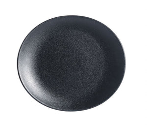 "BK0074: Oval Plate 10 x 7.75"" Black Chinaware Top View"