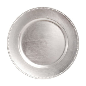 "CP4013: Silver Beaded Charger Plate 13"" White Chinaware Top View"
