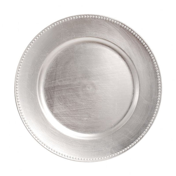 CP4013: Silver Beaded Charger Plate 13