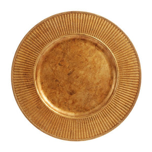 "CP5130: 13"" Antique Gold Radiant Charger Mix Top View"