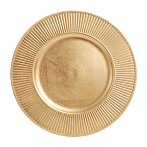 "CP5134: Gold Rdiant Charger Plate 13"" White Chinaware Top View"